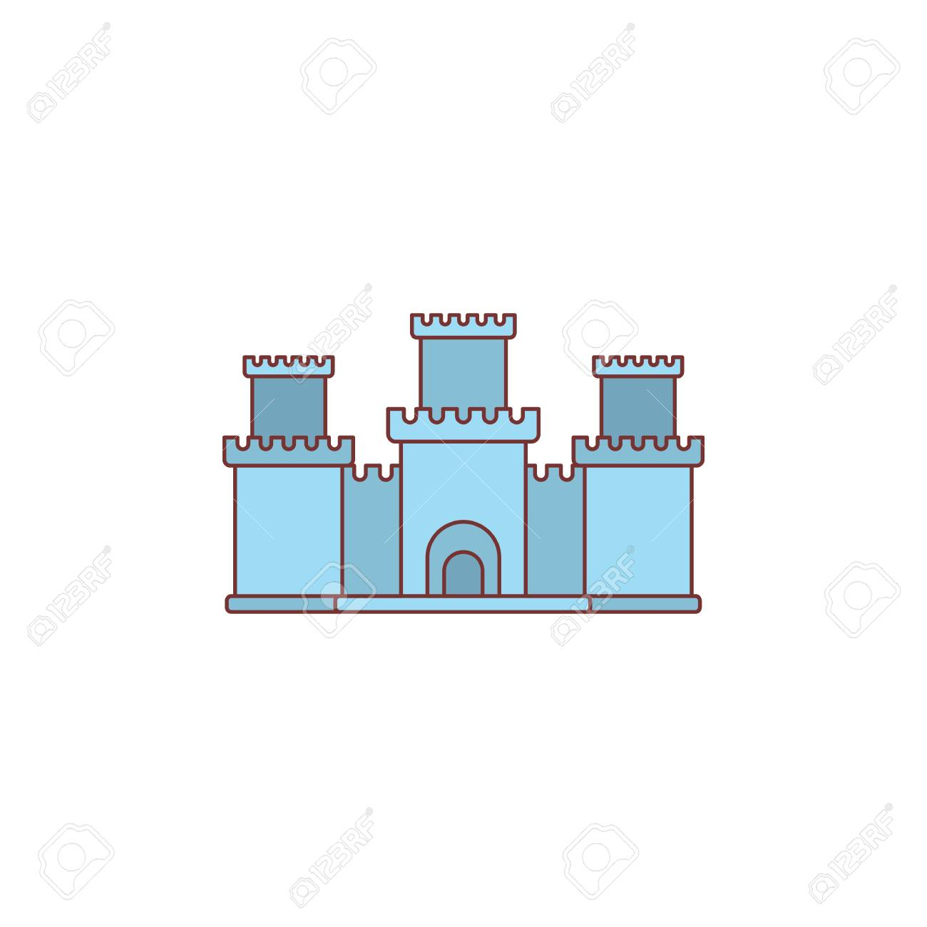 Medieval Knight Citadel With Fortified Wall And Towers Icon Royalty ...