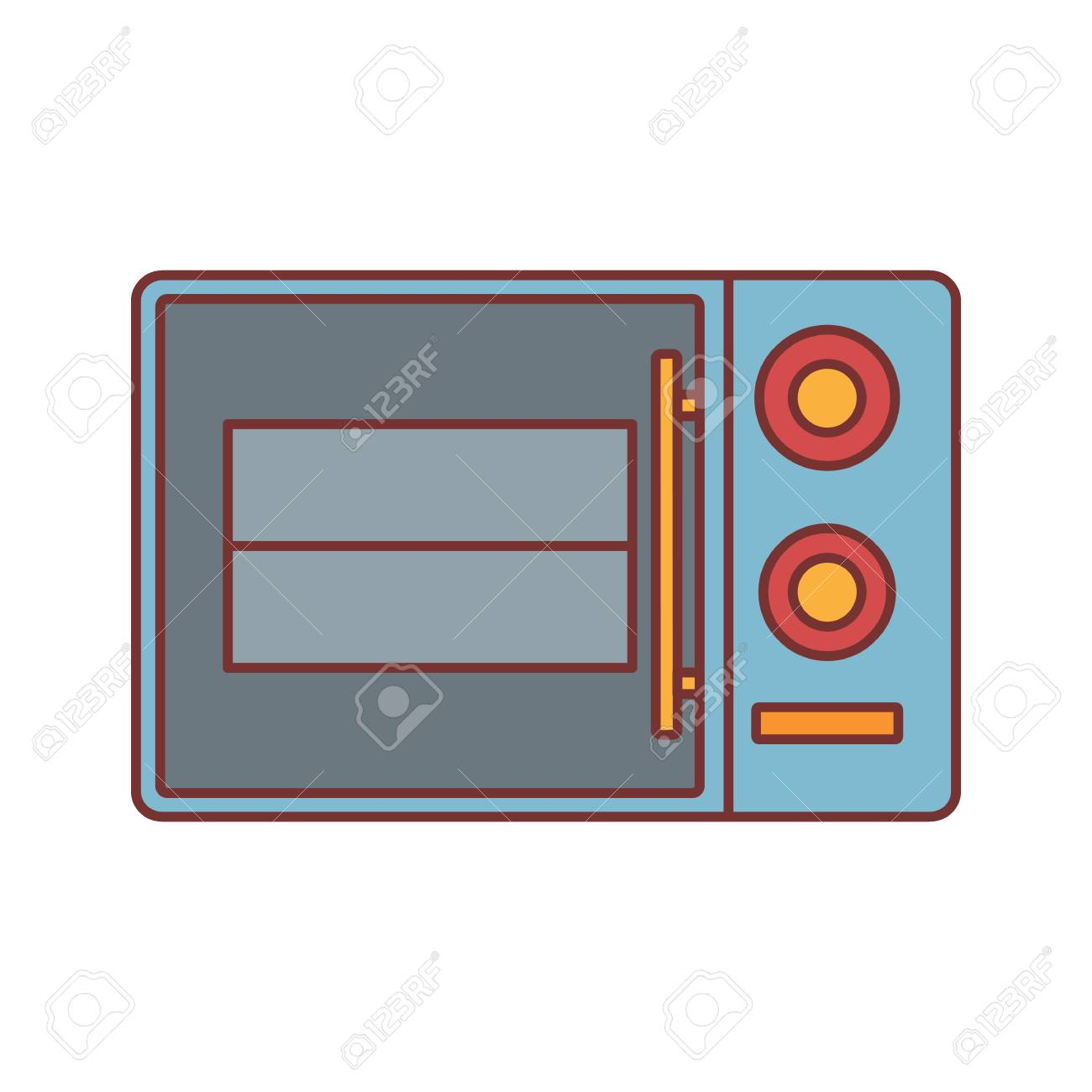 microwave oven cartoon icon vector illustration for design and