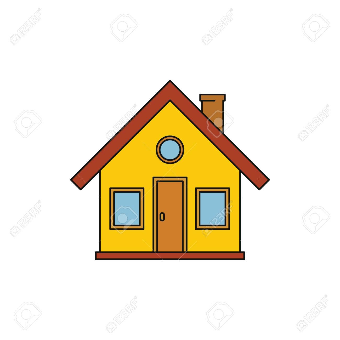 Banque dimages icône de dessin animé coloré de maison de village