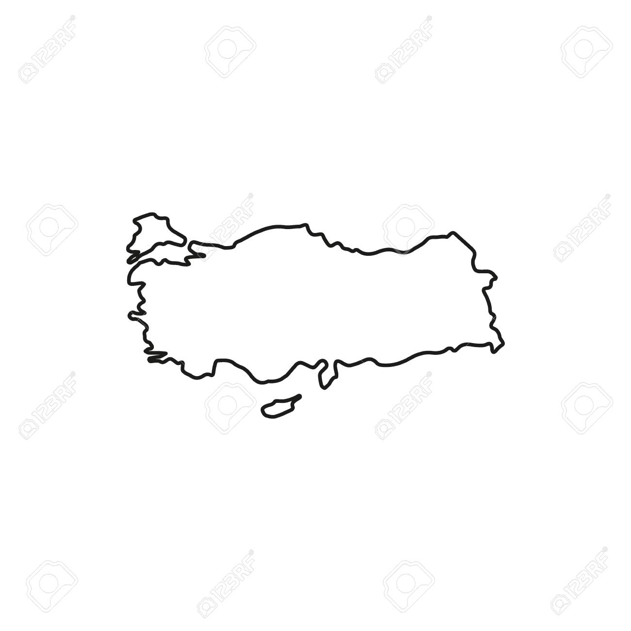 Turkey map icon. Outline turkey map vector icon for web design..