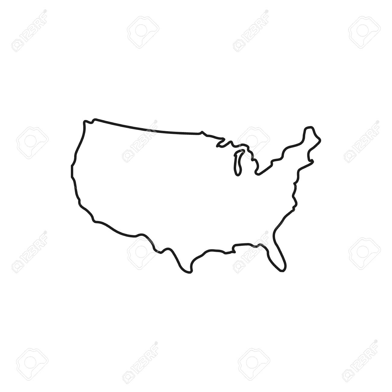 Usa Map Icon Outline Usa Map Vector Icon For Web Design Isolated