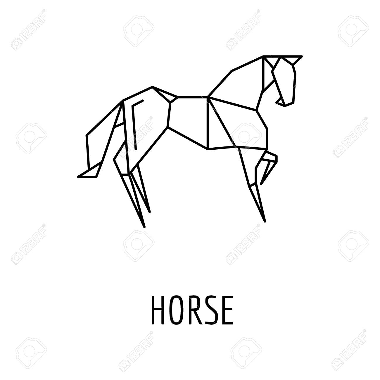 Origami Horse Icon Outline Vector For Web Design Isolated On White Background