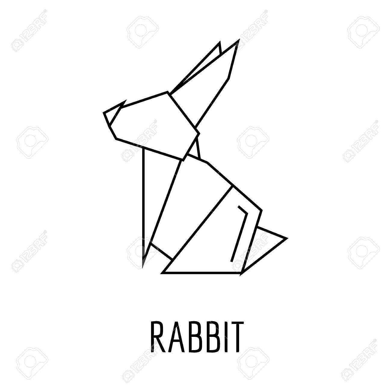 Origami Rabbit Icon Outline Vector For Web Design Isolated On White Background