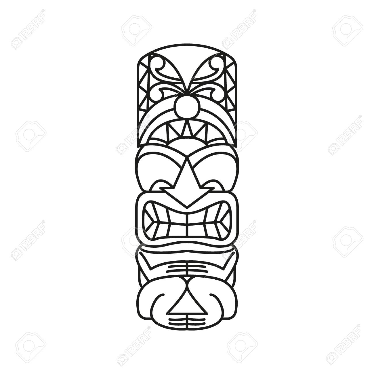 Tiki Tribal Totem head. Traditional Totem icon, North America culture Element, black outline vector illustration - 101010067