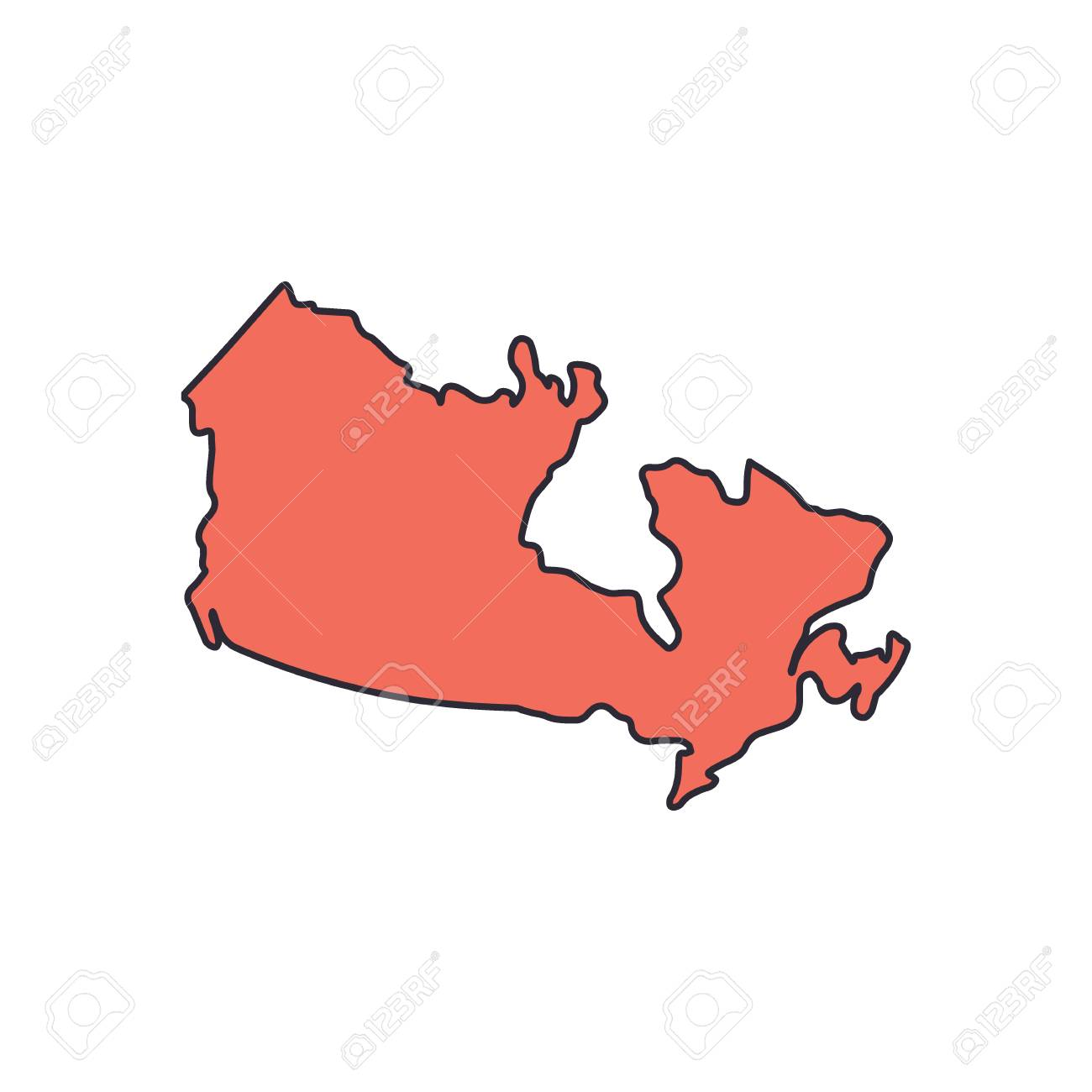 Canada Cartoon Map Canada Map Icon. Cartoon Canada Map Vector Icon For Web Design
