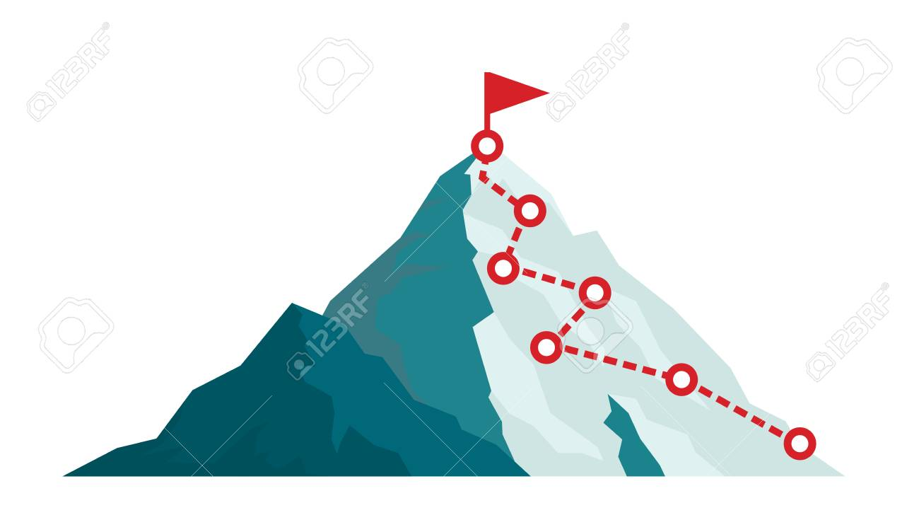 Mountain climbing route to peak in flat style. Business journey path in progress to success vector illustration. Mountain peak, climbing route to top rock illustration - 109814100