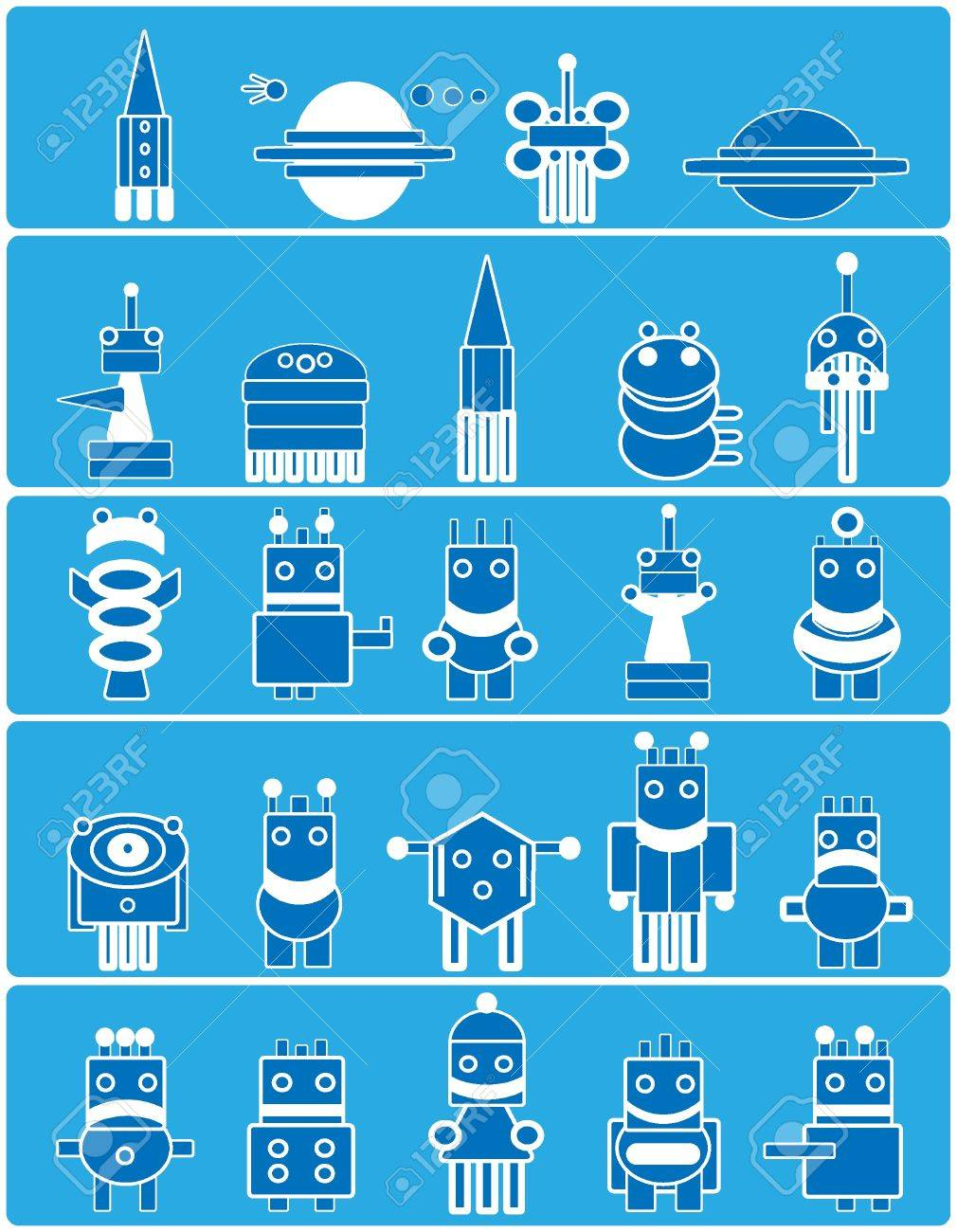 Many cute blue robots with planets and spaceship. Cartoon. Stock Vector - 9640537