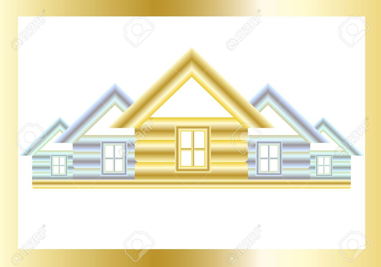 Golden and silver houses on a white background. Stock Vector - 9640541