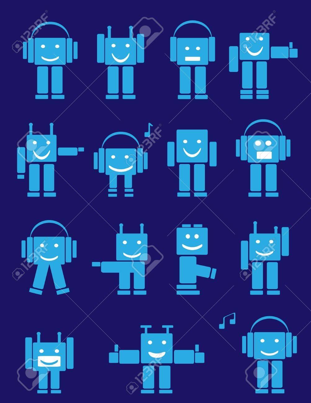Set of blue cute emotional robots. Cartoon Stock Vector - 9851142