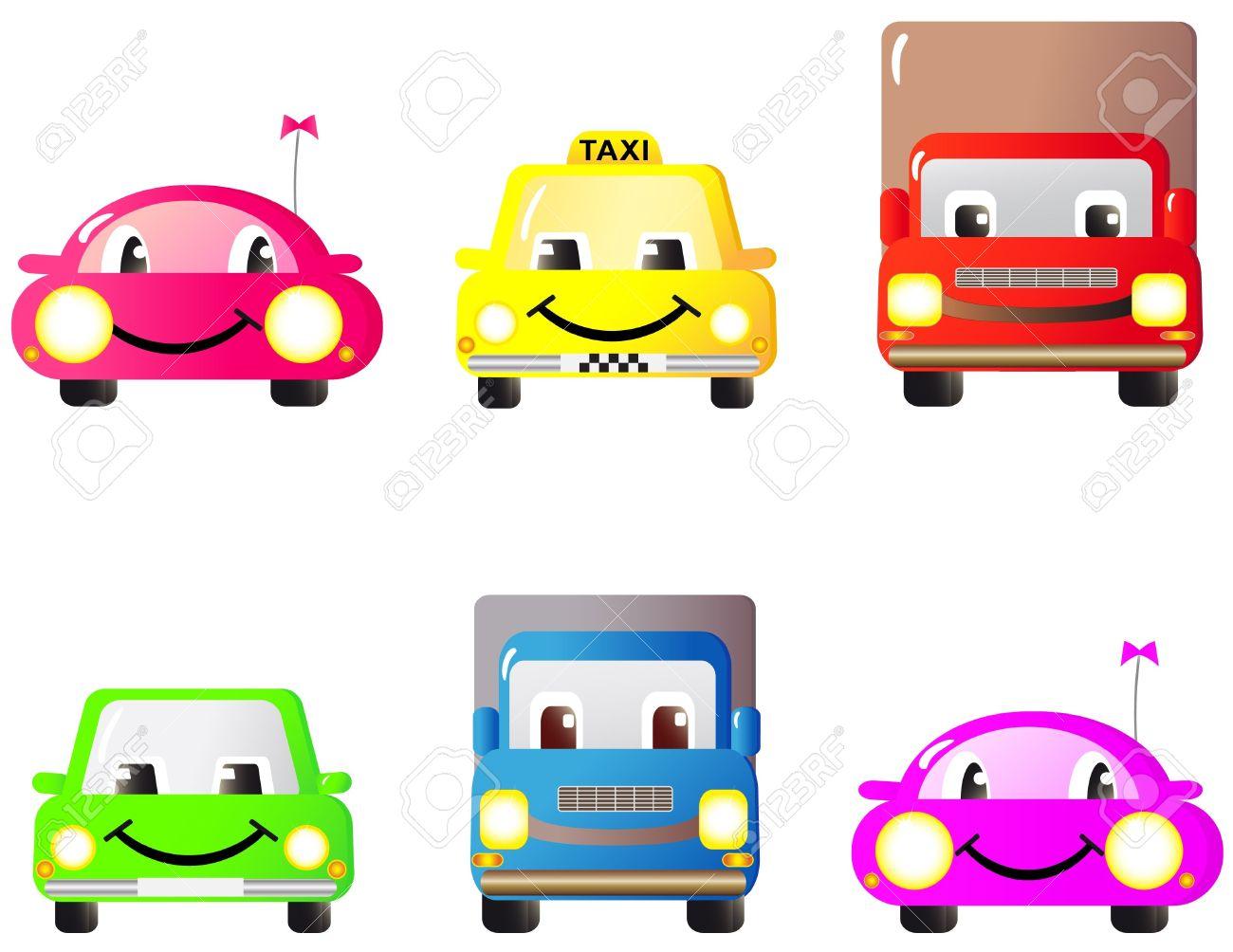 Un conjunto de diversión colorida y lindos autos y juguetes. Dibujos animados.