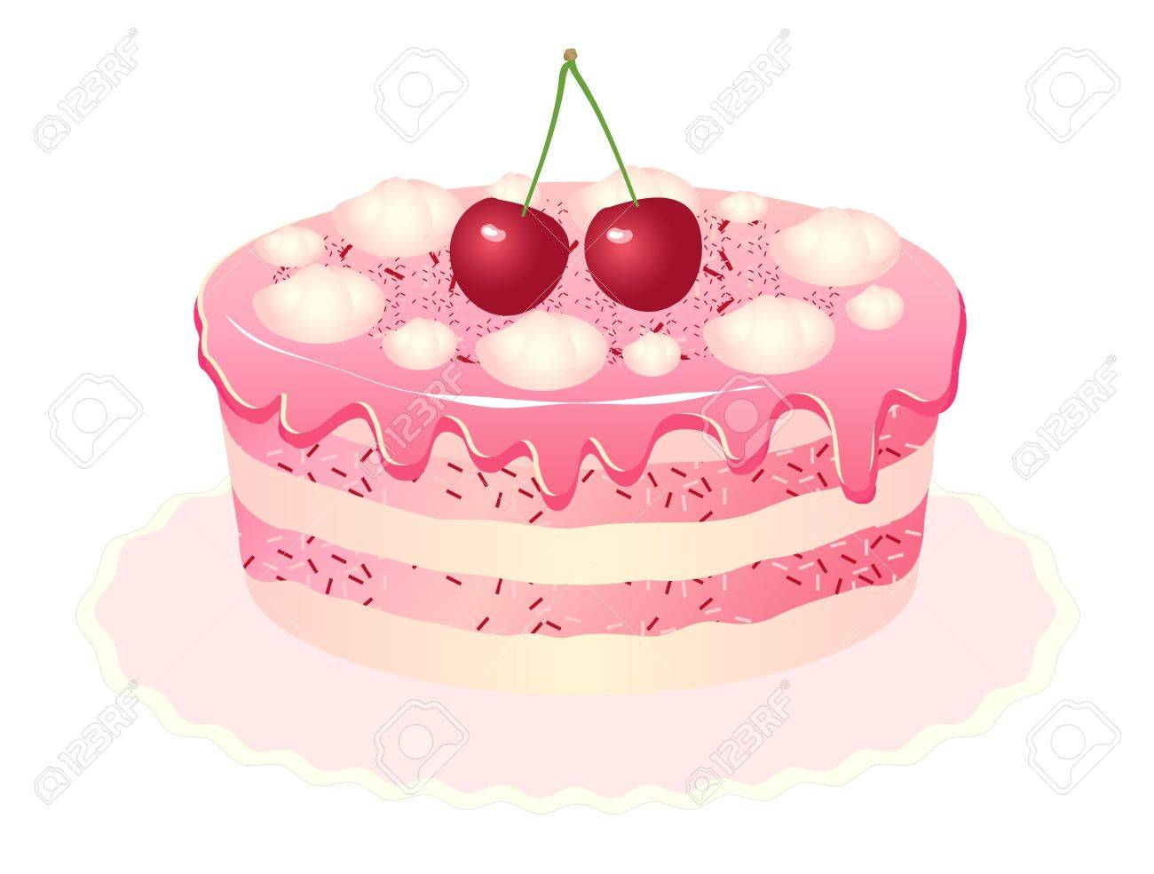 Pink Delicious Cake With Cream Cherries And Ice Cream Royalty