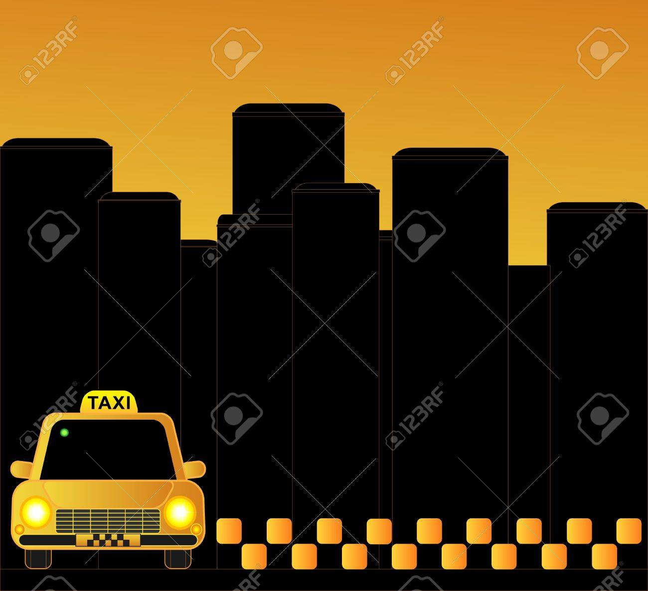 urban taxi background with many skyscrapers Stock Vector - 12340589