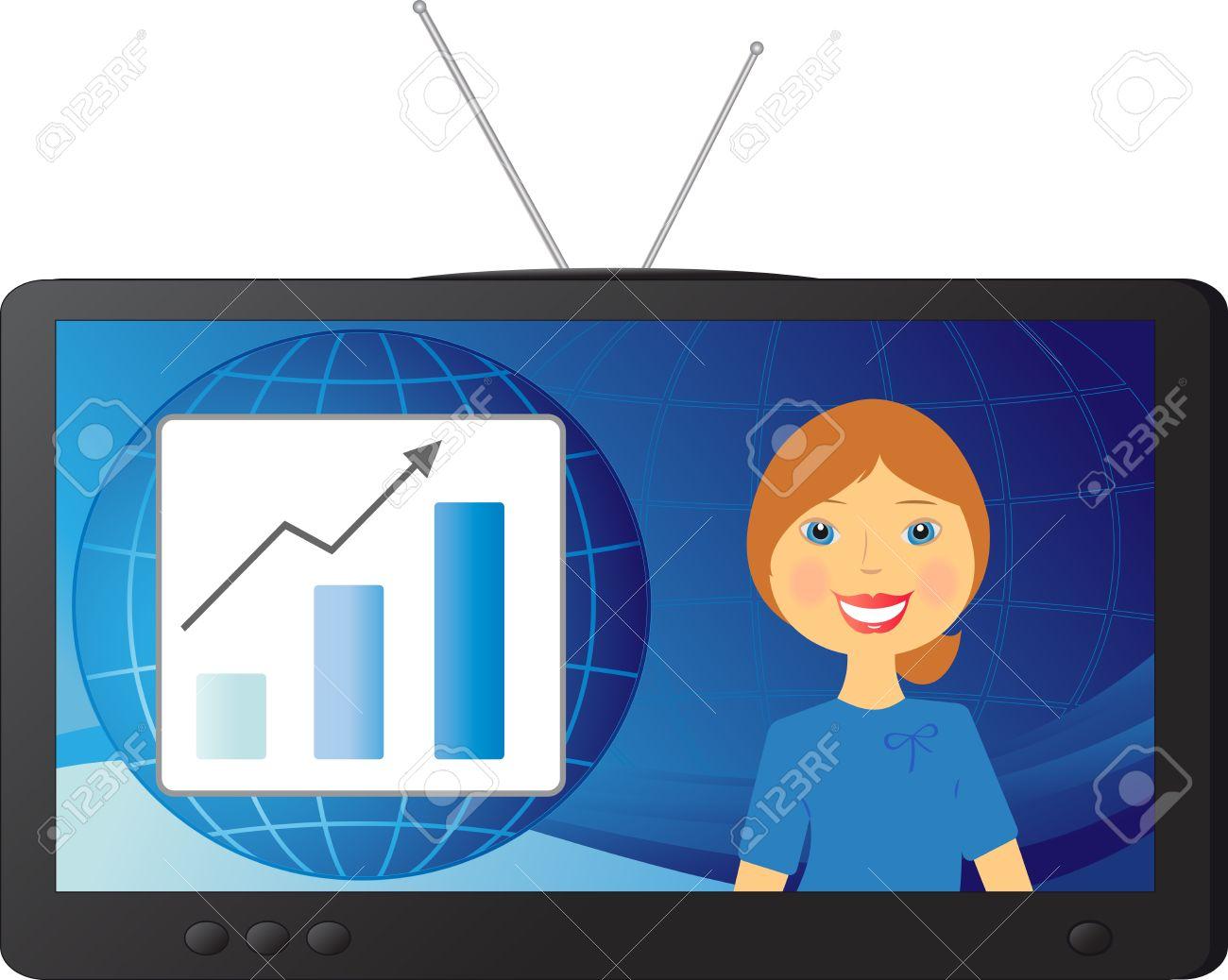 good successful stock news and a beautiful woman TV presenter Stock Vector - 12340608