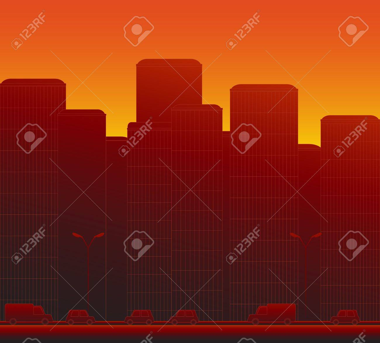 red modern evening urban city landscape with cars Stock Vector - 12340607