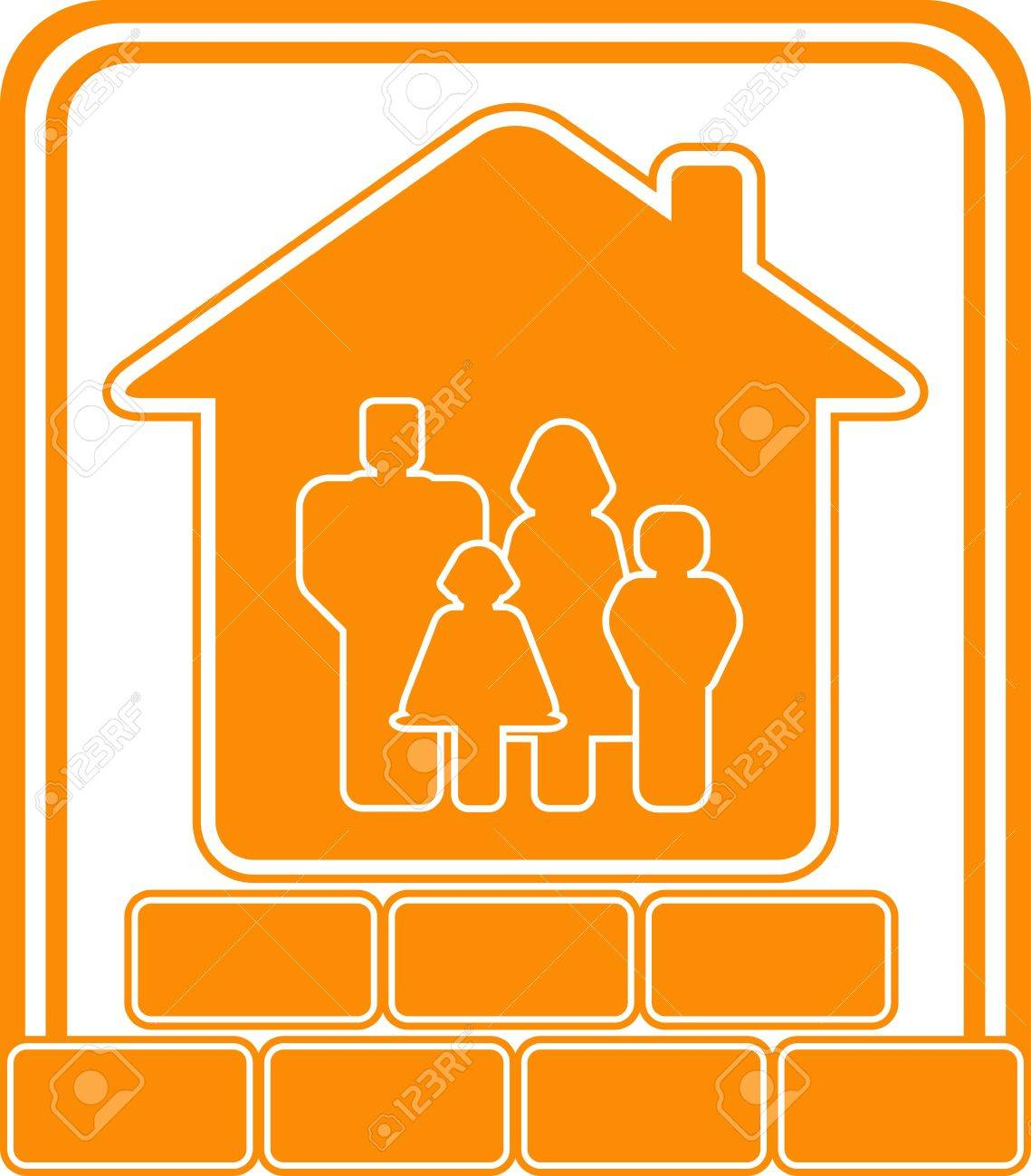 Symbol of construction new cottage with bricks house and family symbol of construction new cottage with bricks house and family stock vector 12340542 buycottarizona Image collections