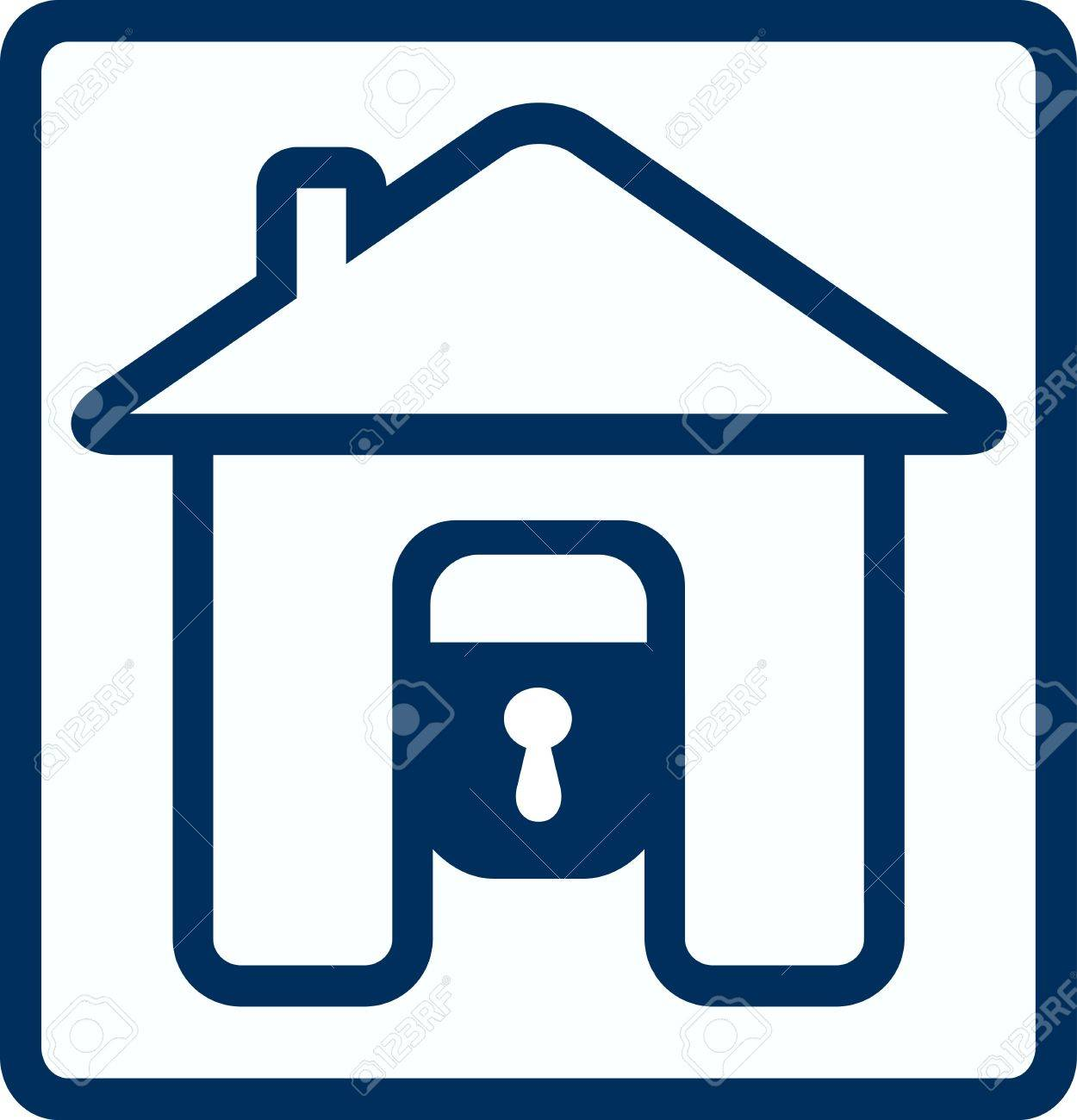 symbol of safety with house lock silhouette Stock Vector - 12340451
