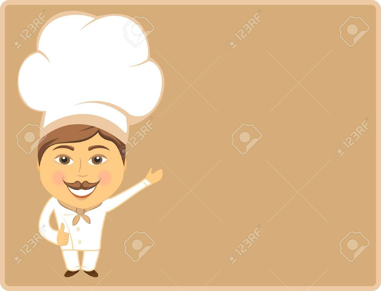 cheerful cook chowing thumb up on card on brown background Stock Vector - 12340520