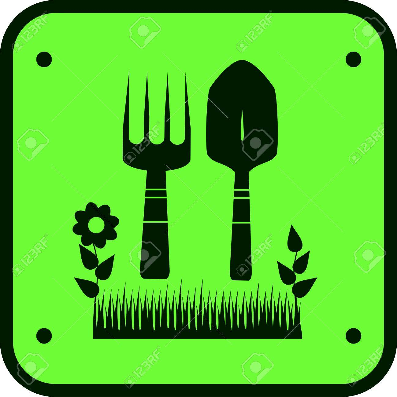 green garden sign with silhouette of grass, flower and tools for ground work Stock Vector - 12340538