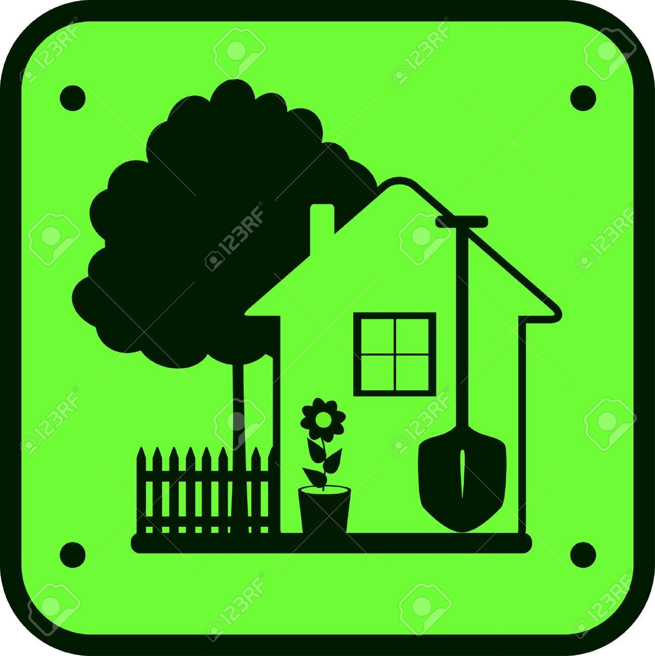 eco green sign garden work with tree, house, flower and tools Stock Vector - 12340515