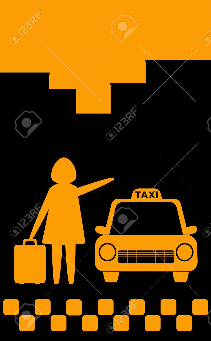 background with woman silhouette stop city taxi for trip with bag Stock Vector - 12340458