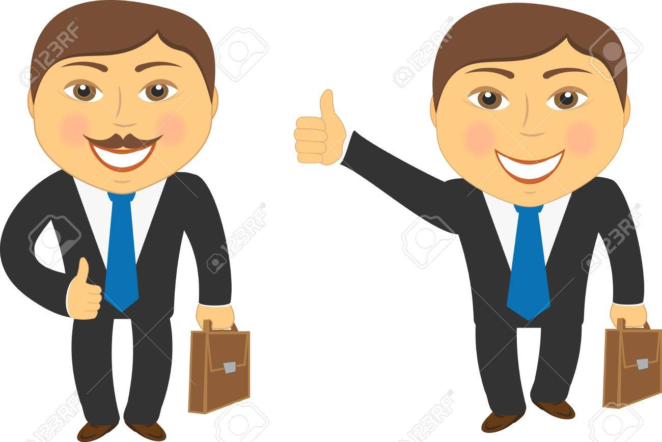 two cartoon successful businessman with portfolio and showing thumb up Stock Vector - 12340597
