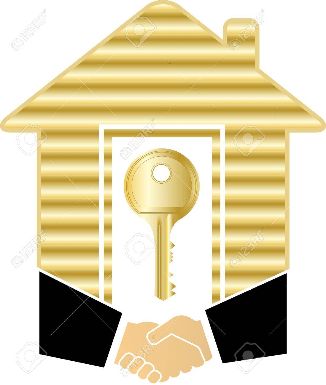 gold house key. symbol of safety and success with handshake gold house key stock vector 12340604