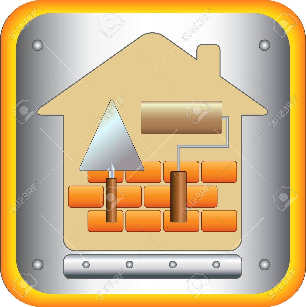 symbol decorating house with trowel and stucco roller Stock Vector - 12340605