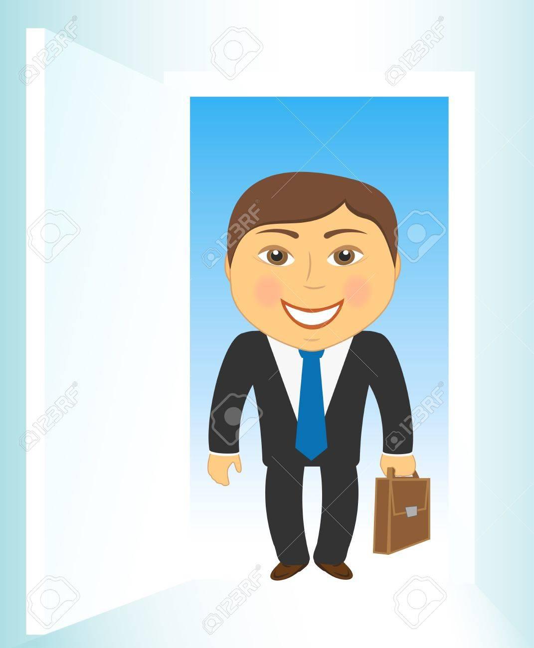 cute cartoon businessman on open door background Stock Vector - 12340540