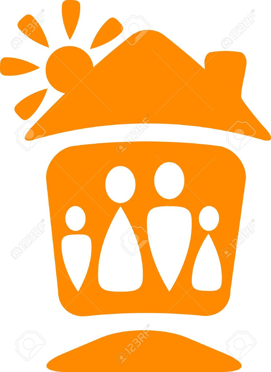 warm symbol with silhouette of happy family with house and sun Stock Vector - 12340454