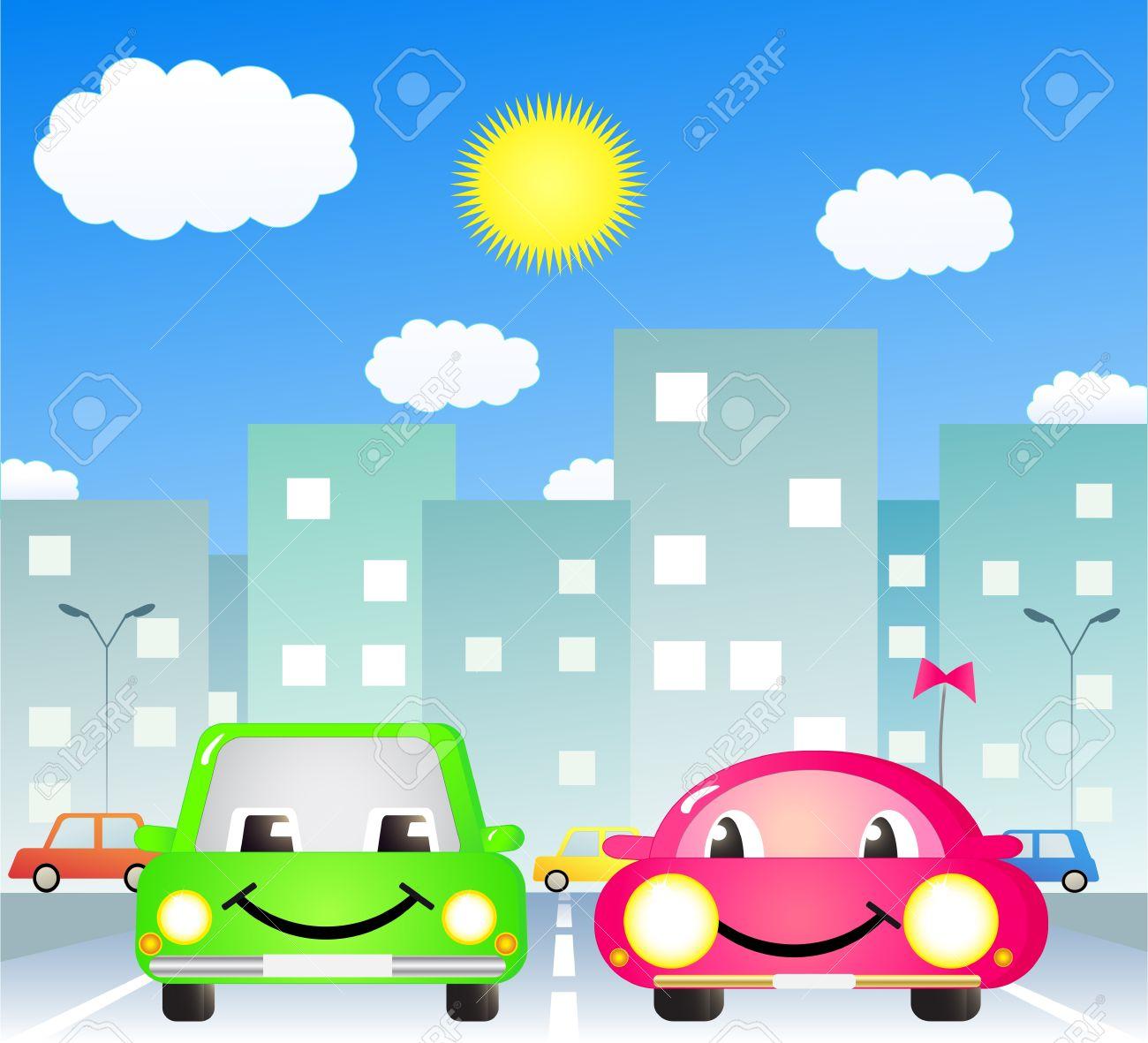 市の道路で 2 つのかわいい漫画車 ロイヤリティフリークリップアート