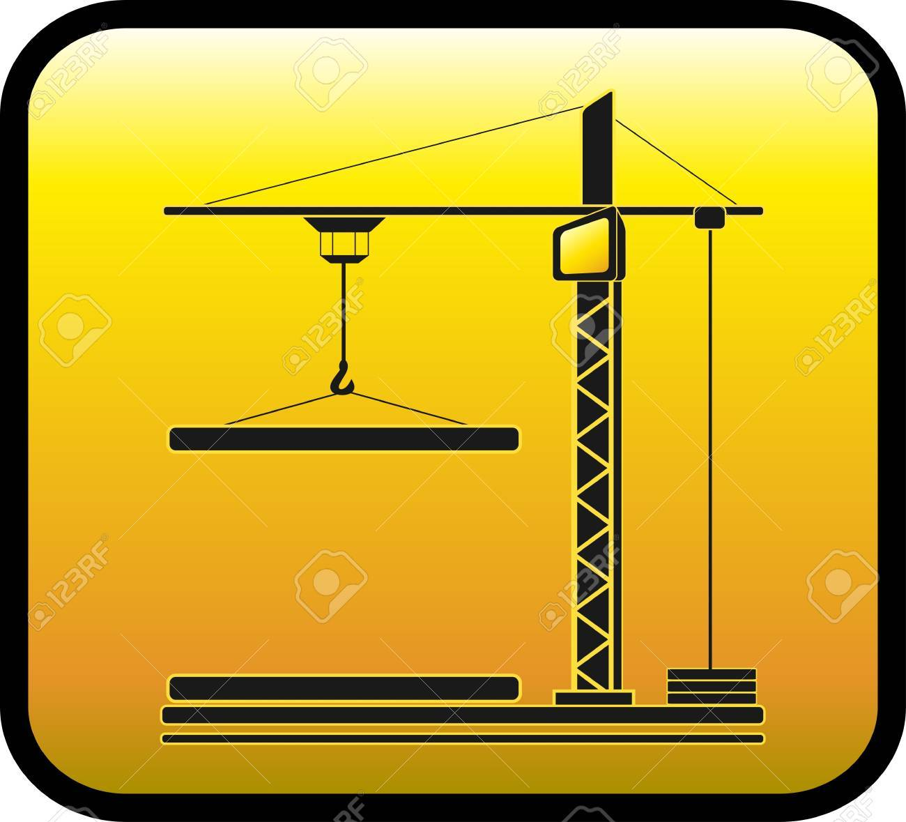 yellow sign with modern construction crane silhouette Stock Vector - 12340664
