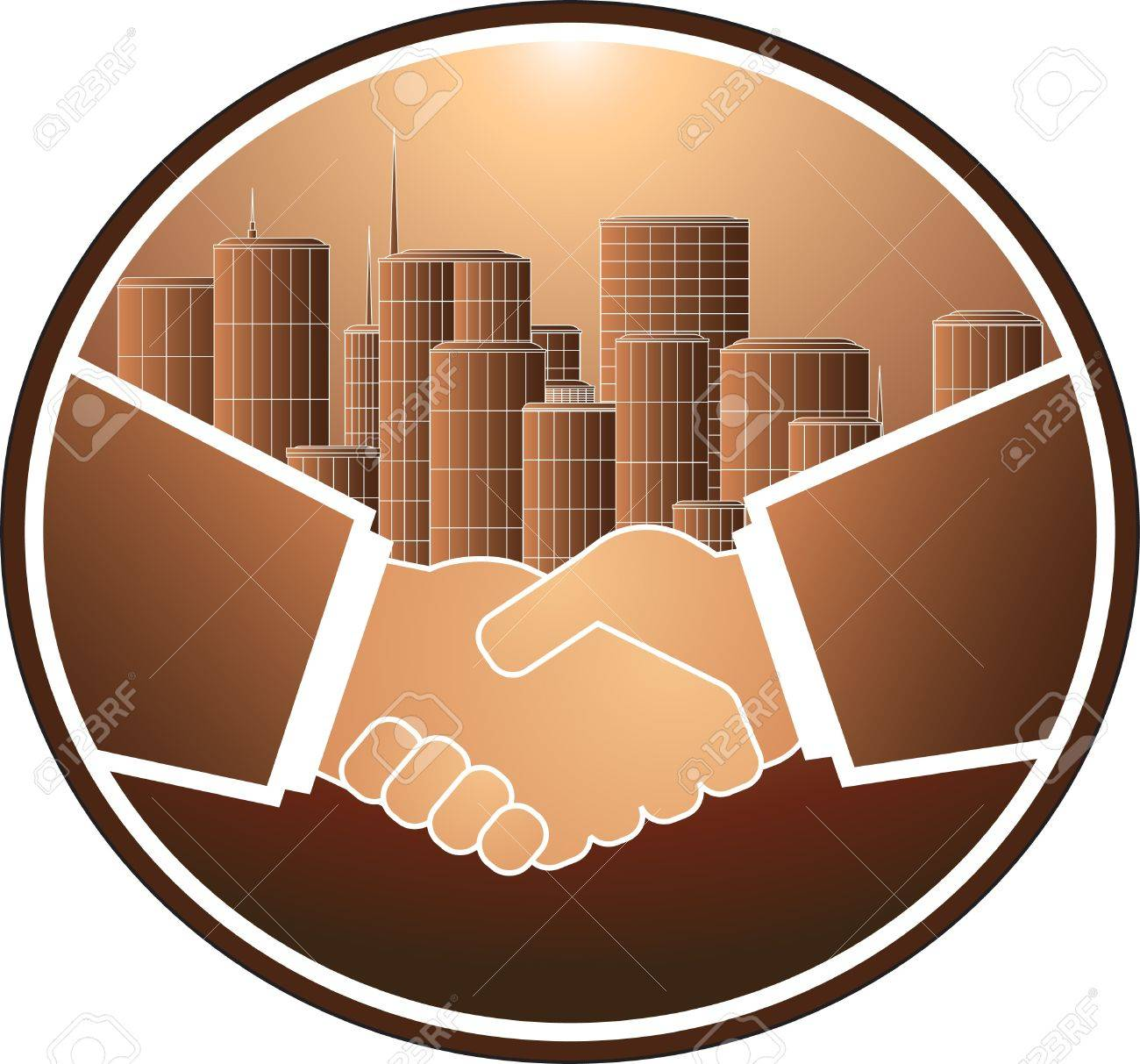 business handshake on the background of a large city Stock Vector - 12344409