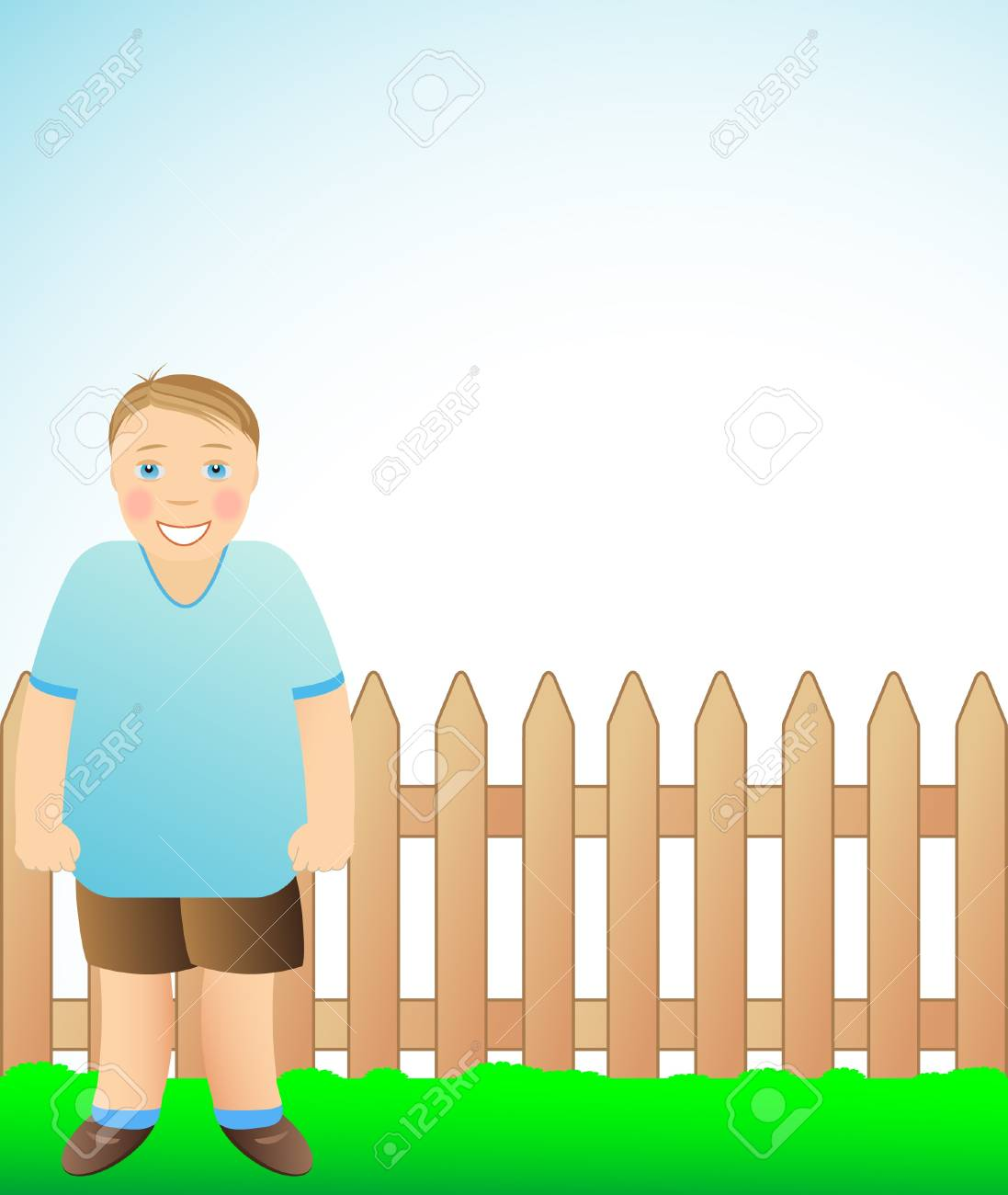 funny cute boy standing and smiling Stock Vector - 12344404