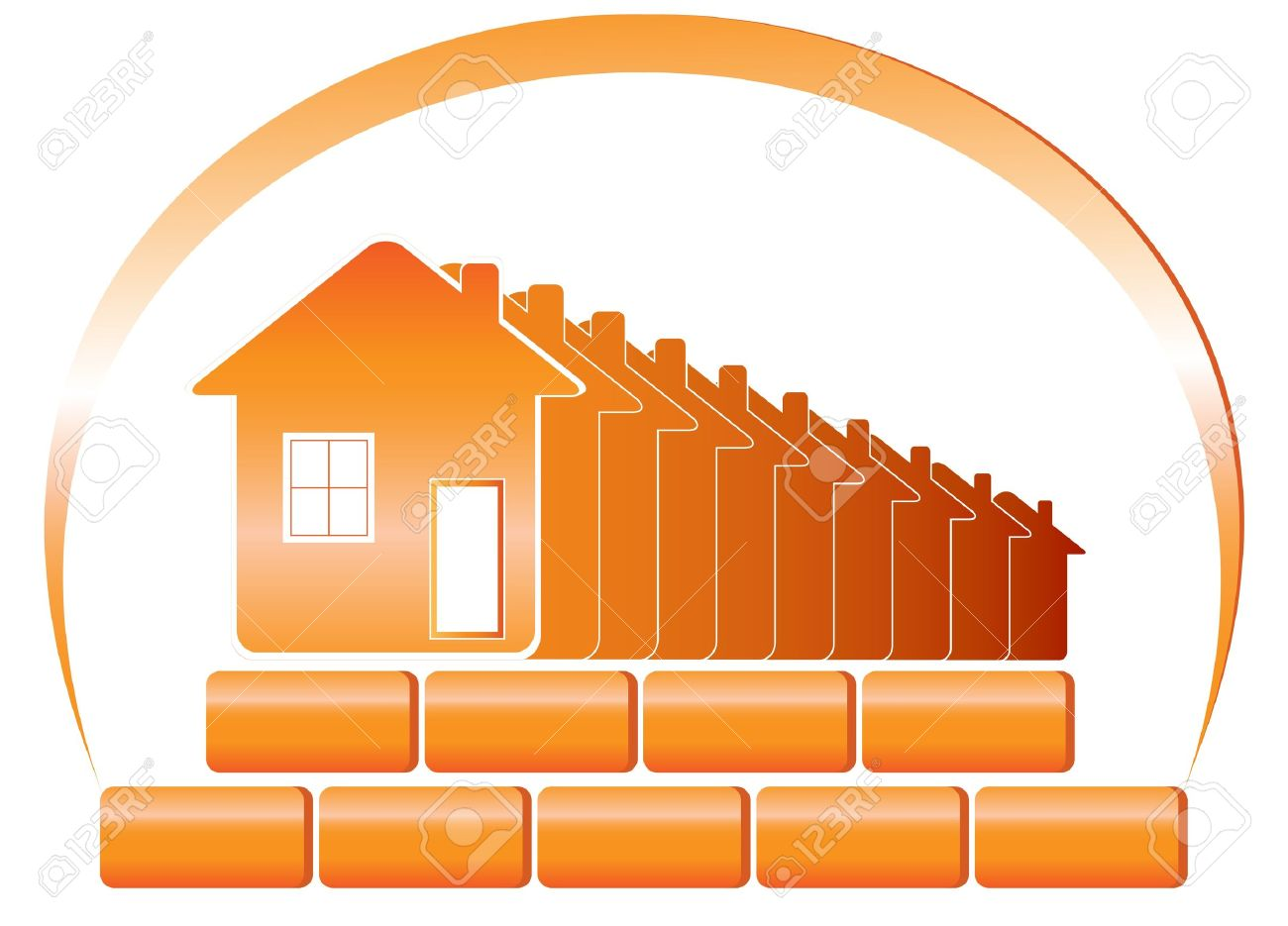 Red emblem of the building company and sun with houses, bricks - 12333839