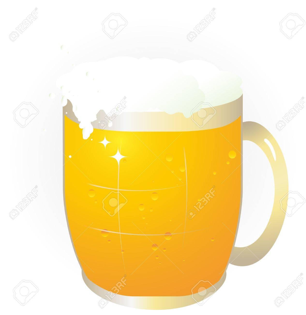 白地にかわいいビール ジョッキのイラスト素材 ベクタ Image