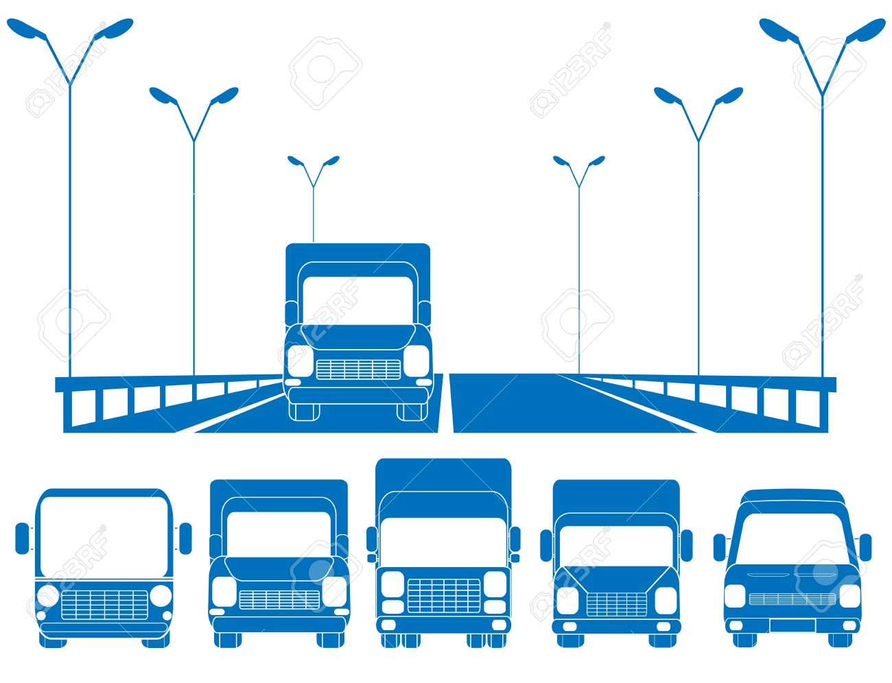 blue road with lantern, fence and set of trucks Stock Vector - 12344367