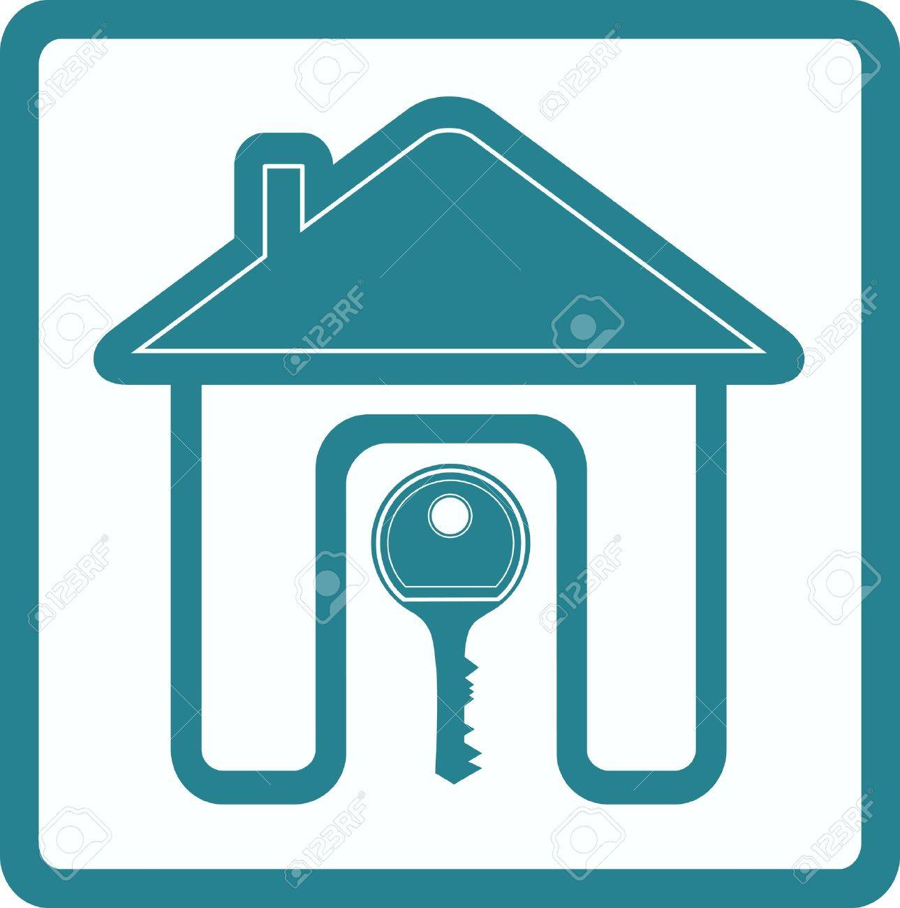 blue sign of real estate with silhouette house door and key Stock Vector - 12334262