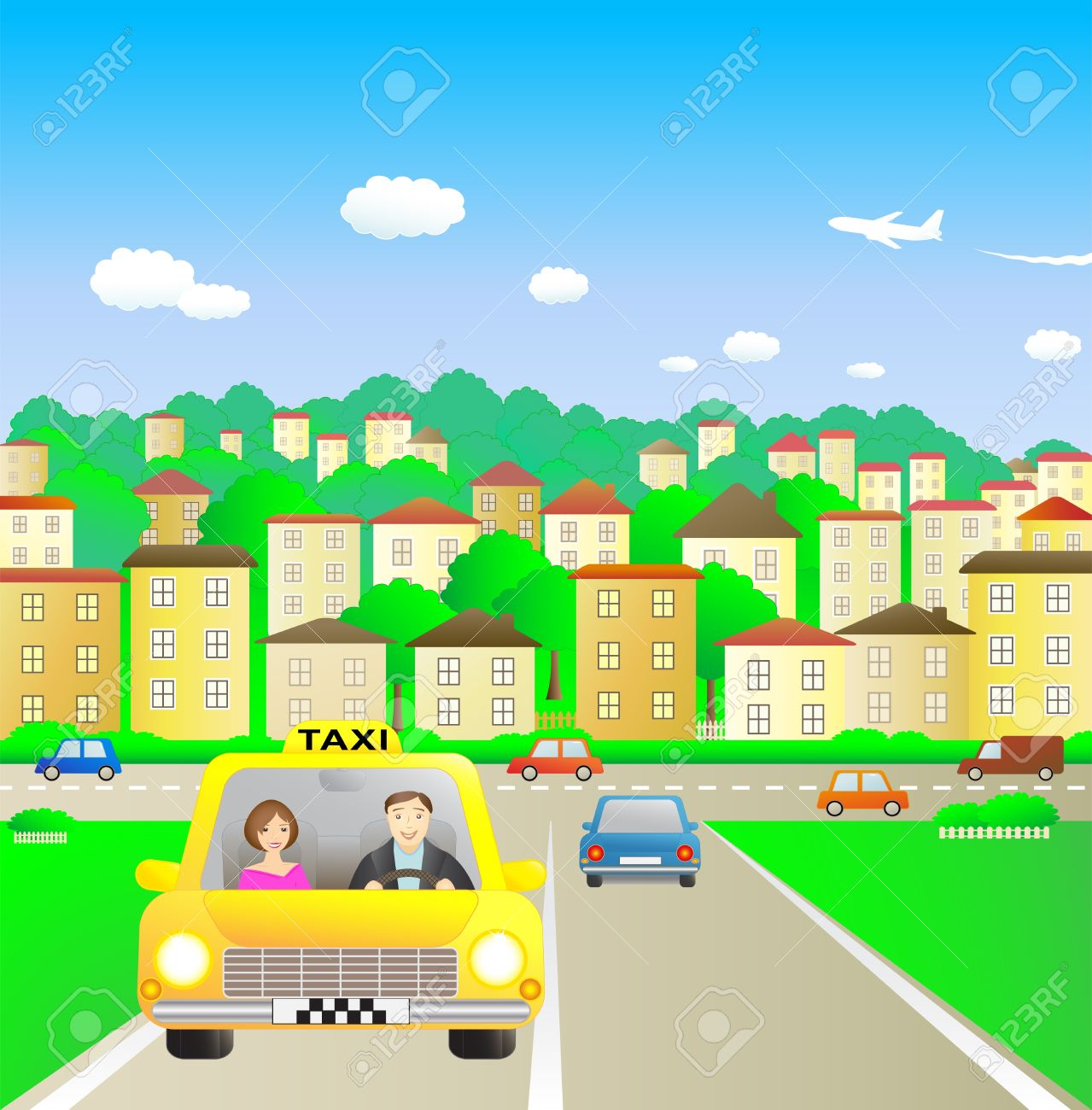 Summer city and taxi with beautiful passenger Stock Vector - 12333870