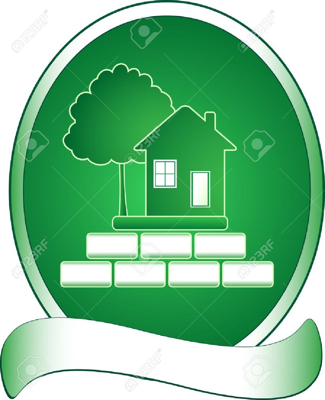 Emblem with green house, tree and rich Stock Vector - 12340671