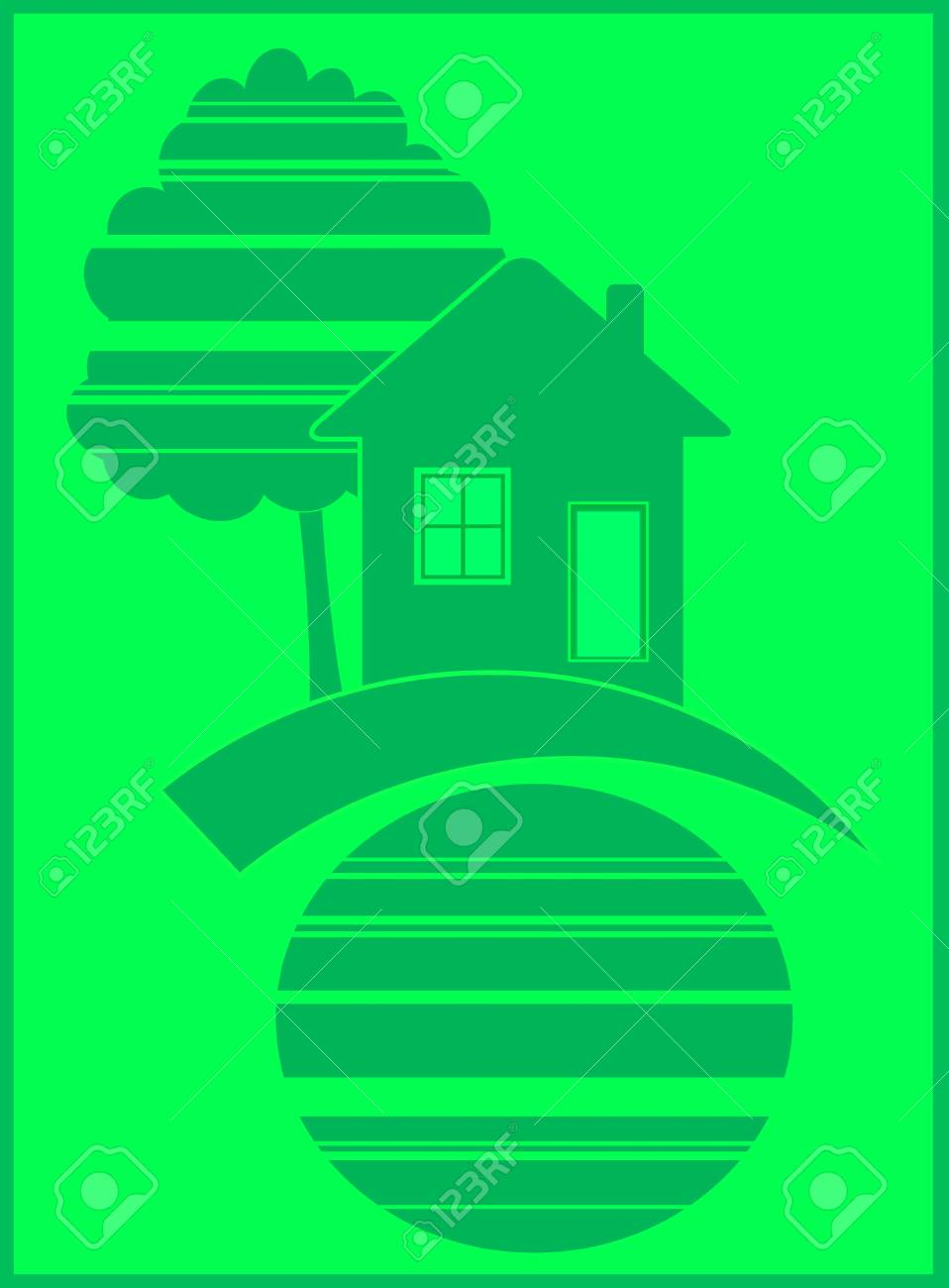 green symbol of eco house in frame Stock Vector - 12333661