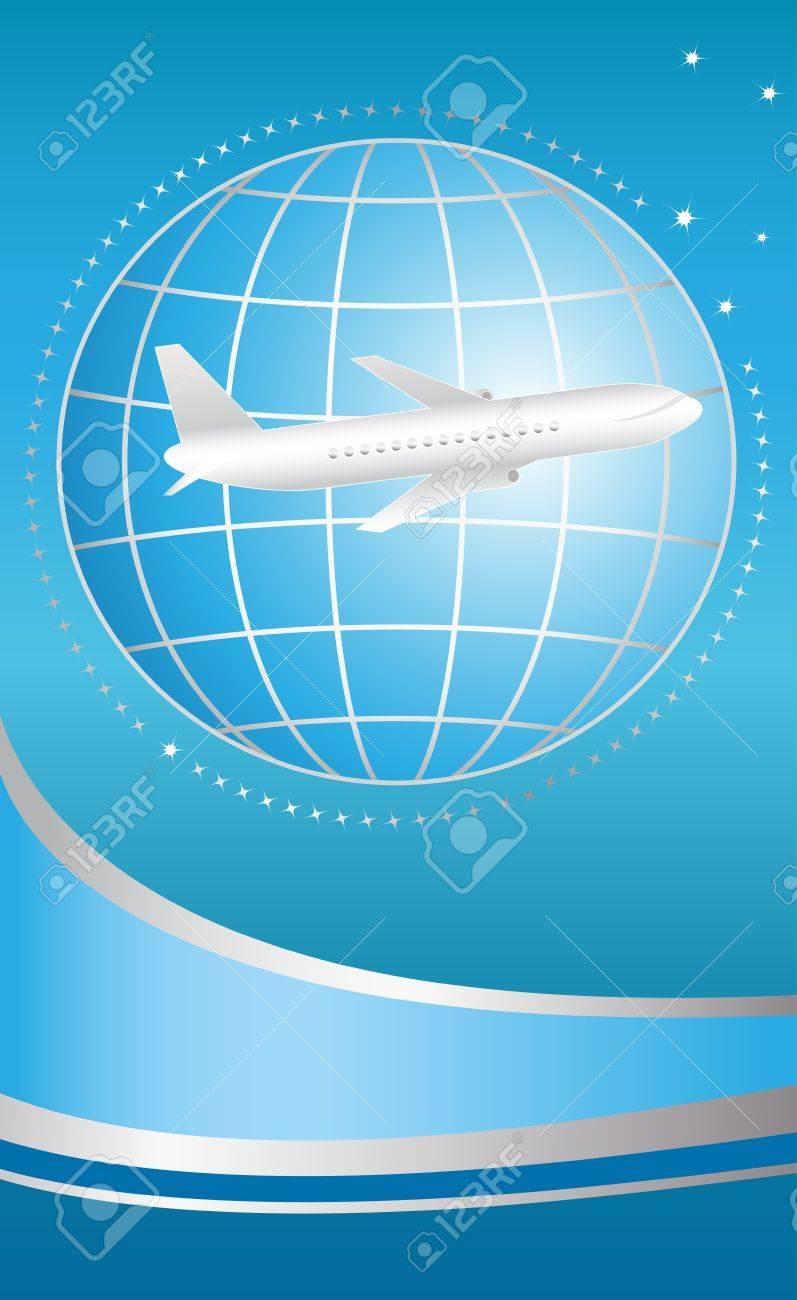 blue cover for ticket international flying plane Stock Vector - 12344391