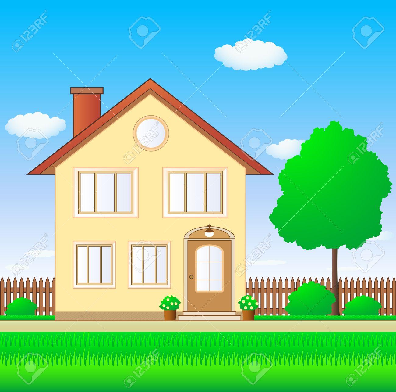 Beautiful garden cartoon - Cottage Garden Beautiful Luxury House With Lawn And Garden