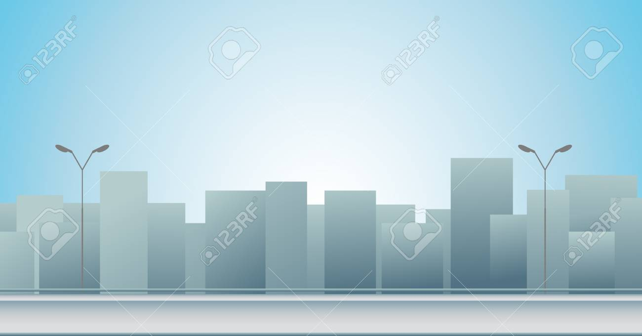 blue background with urban landscape and sunrise Stock Vector - 12333924