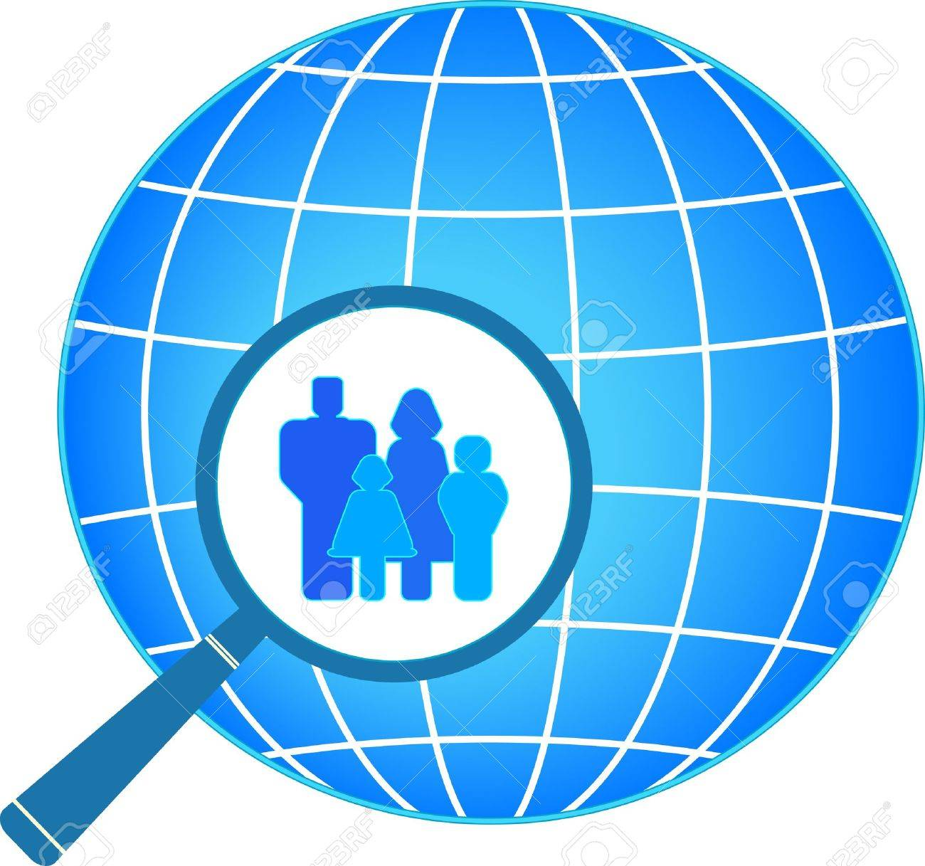 icon with family in magnifier on planet background Stock Vector - 12489614