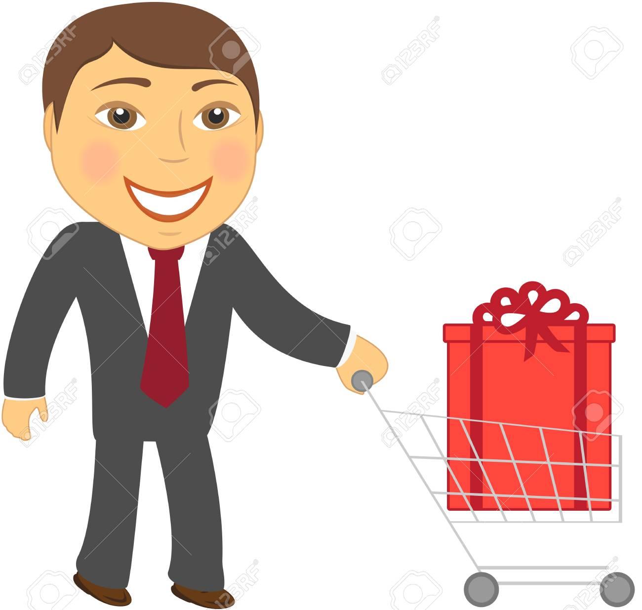 cute cartoon man and shopping cart with box Stock Vector - 12800596