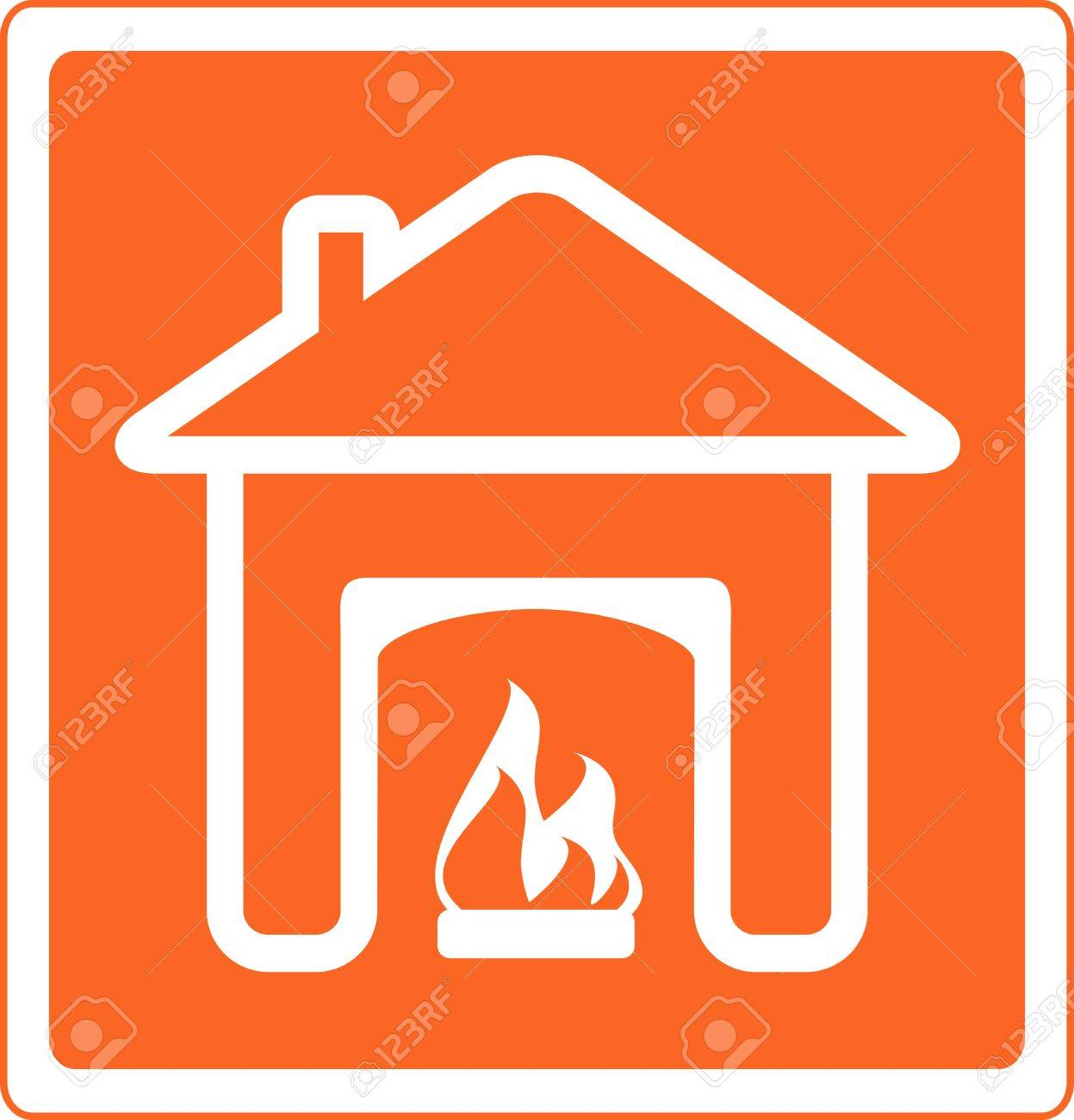 red sign of fireplace in house silhouette  symbol of hearth and home Stock Vector - 12800584