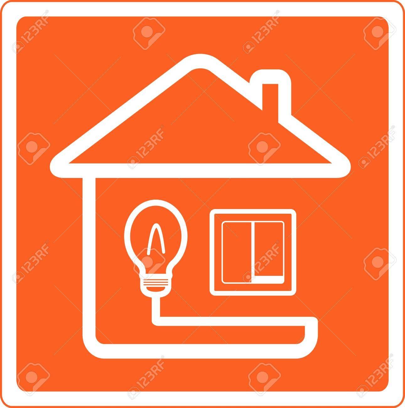 Roten Symbol Der Strom Im Haus Mit Glühlampe Und Lichtschalter ...