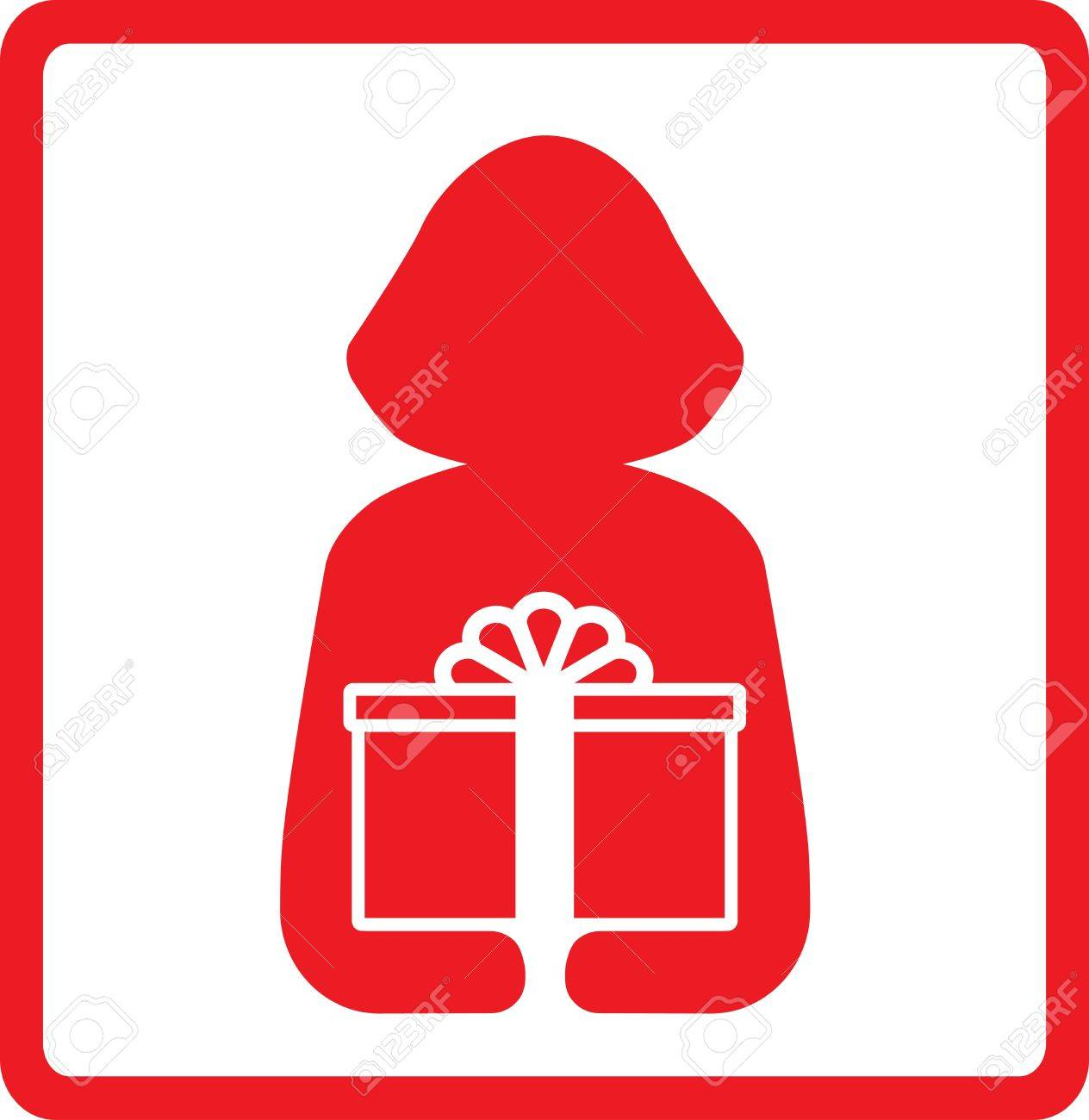 icon with woman silhouette hold red gift box Stock Vector - 12800595