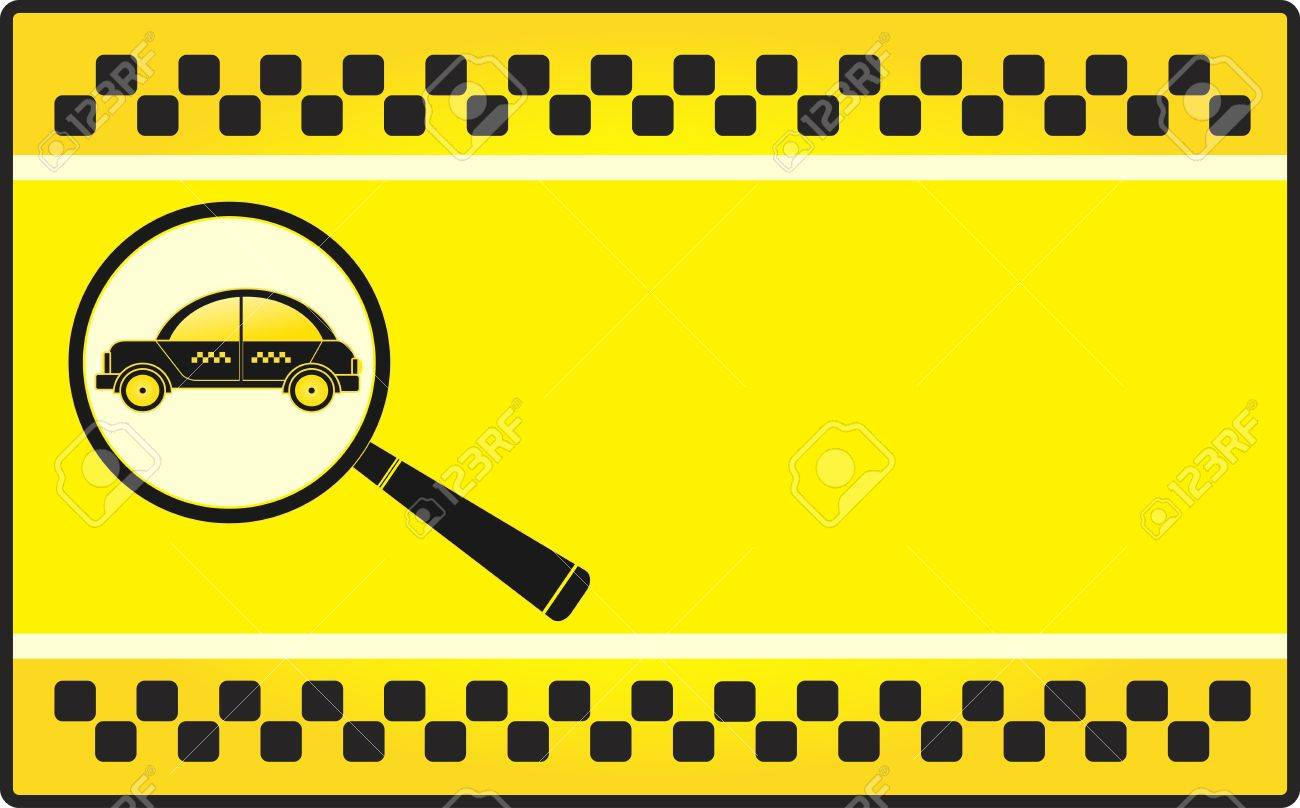yellow background visiting card with cab and magnifier Stock Vector - 12948697