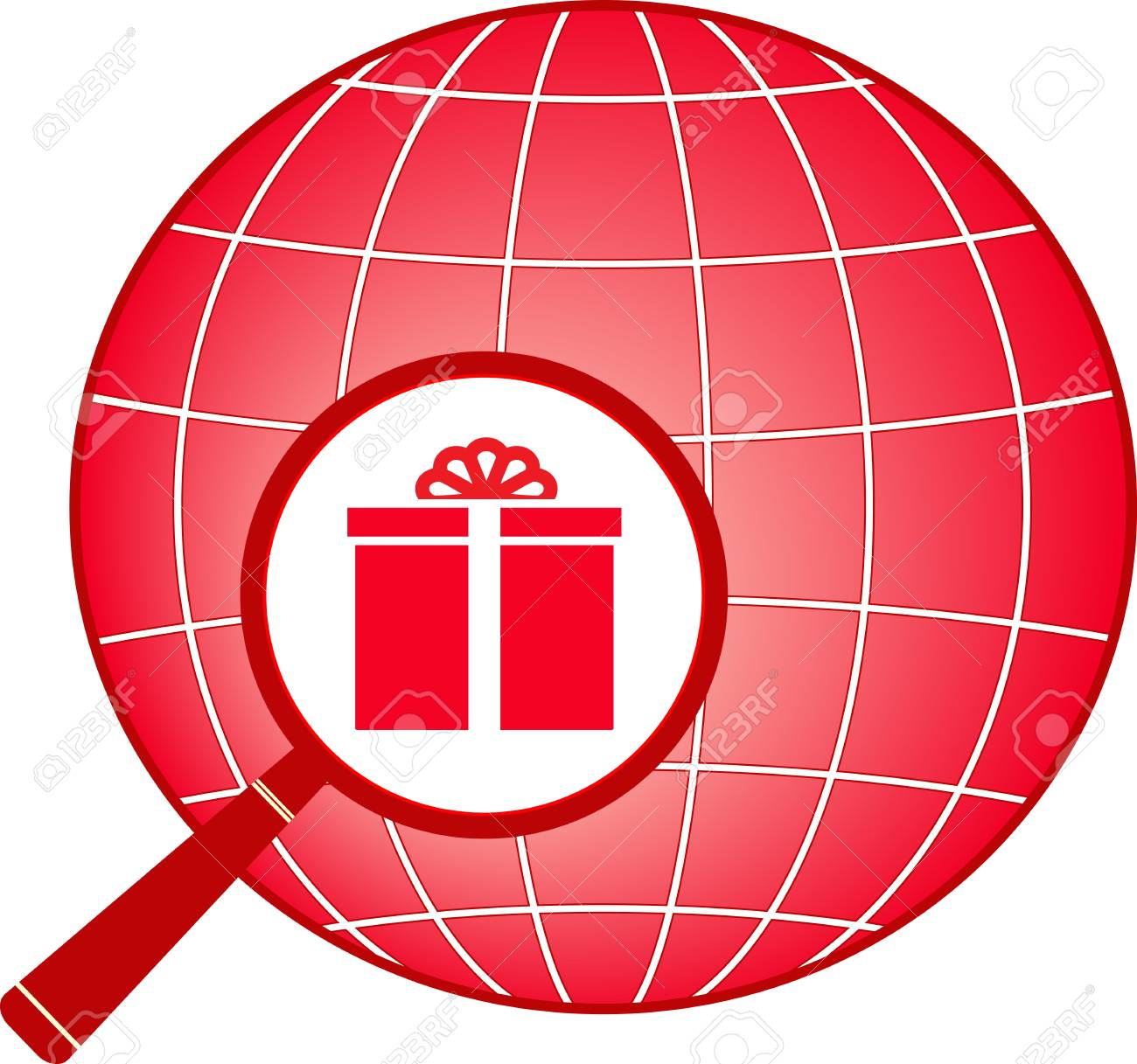 red sign with planet, magnifier and gift Stock Vector - 12948700